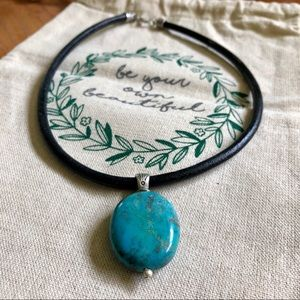 EUC Turquoise Leather & Sterling Silver Necklace